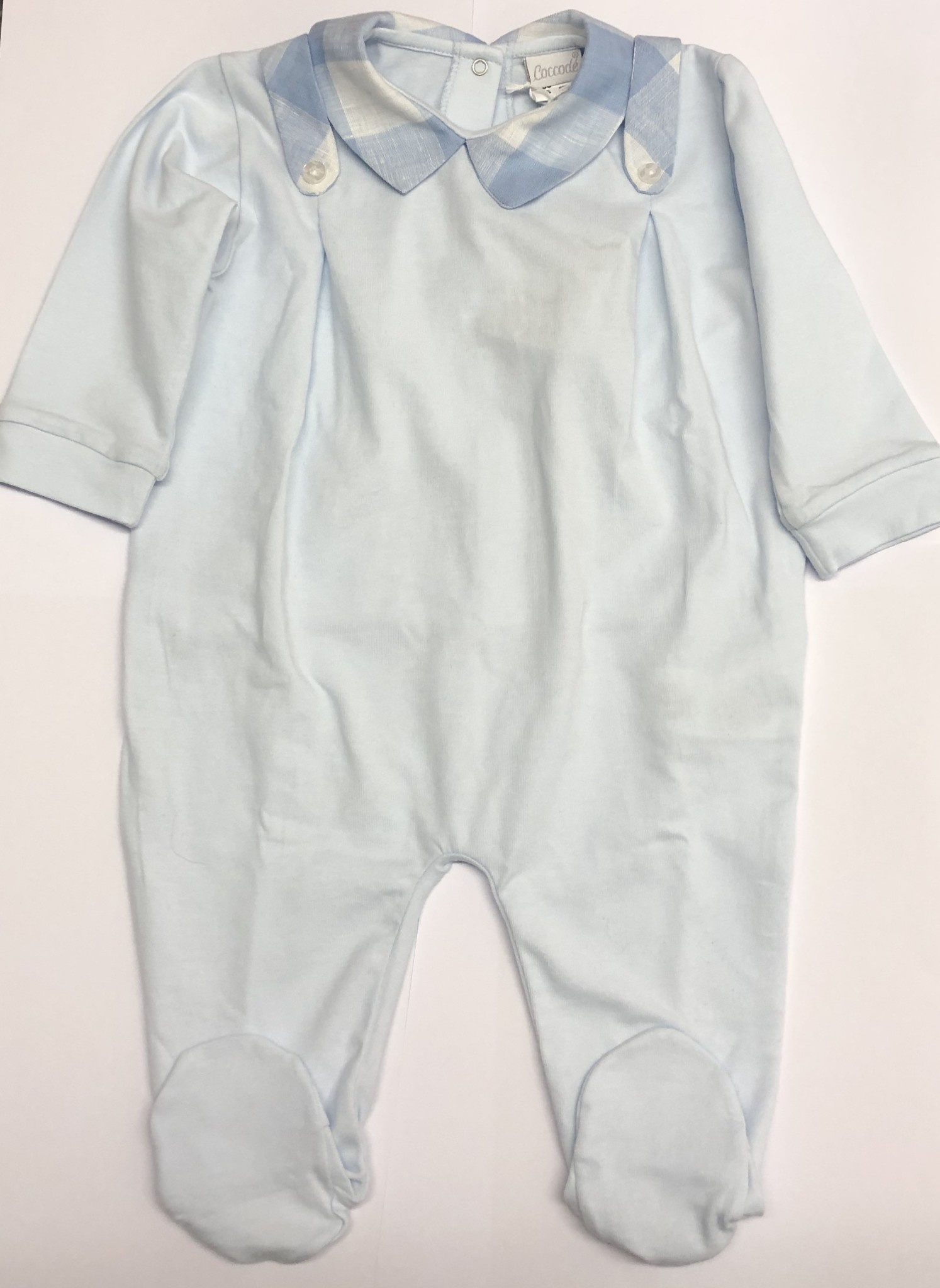 Coccode Coccode Pale Blue Baby Grow with Check Collar