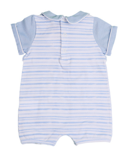 Purete Purete Blue Stripe Romper with overlay Top