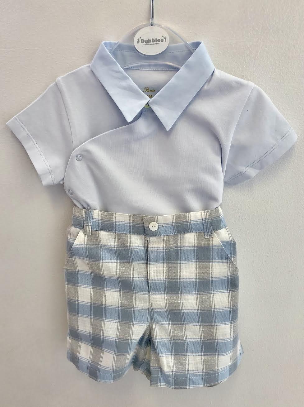 Purete Purete Blue Body Top And Check Shorts