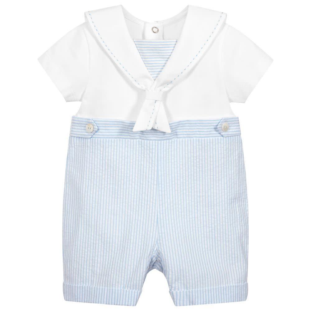 Purete Purete White & Blue Stripe Sailor Style Romper