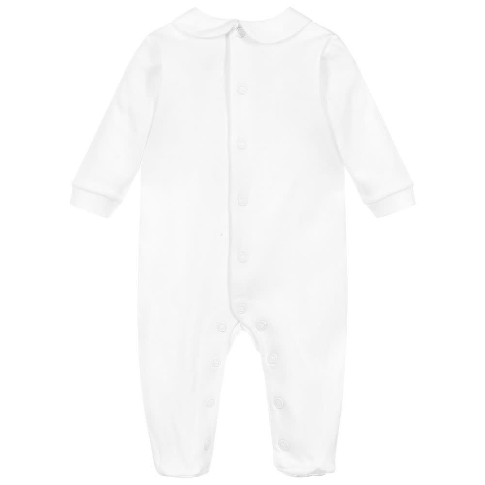 Purete Purete White Baby Grow With Blue Bib Detail