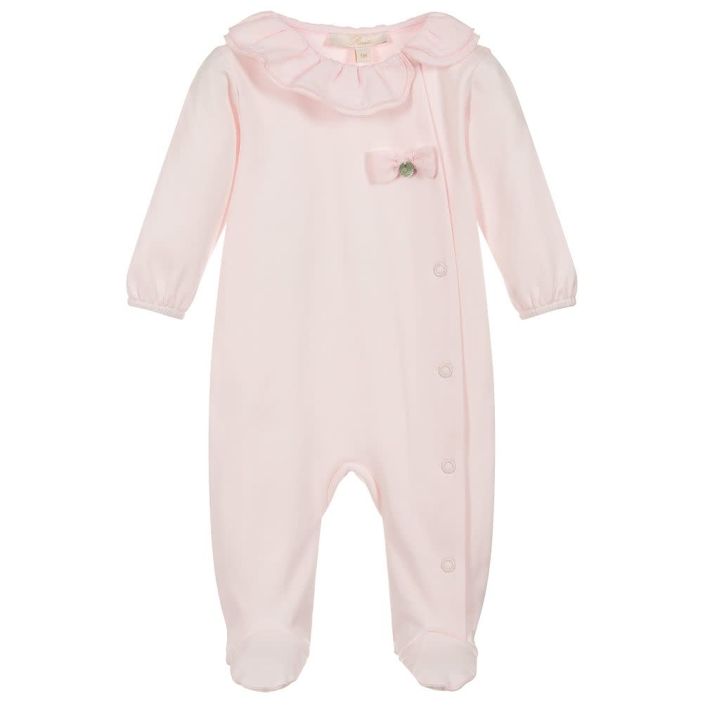 Purete Purete Girls Pink Babygrow With Ruffle Collar And Bow