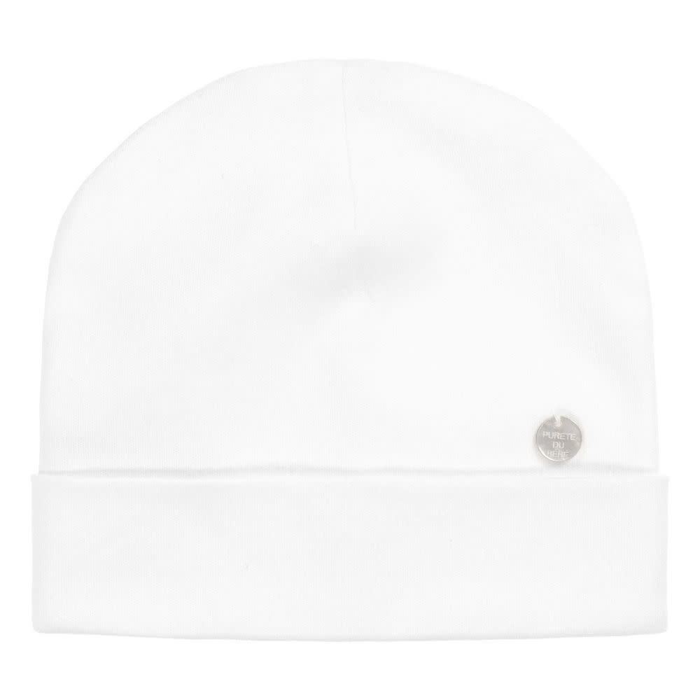 Purete Purete White Cotton Jersey Baby Hat