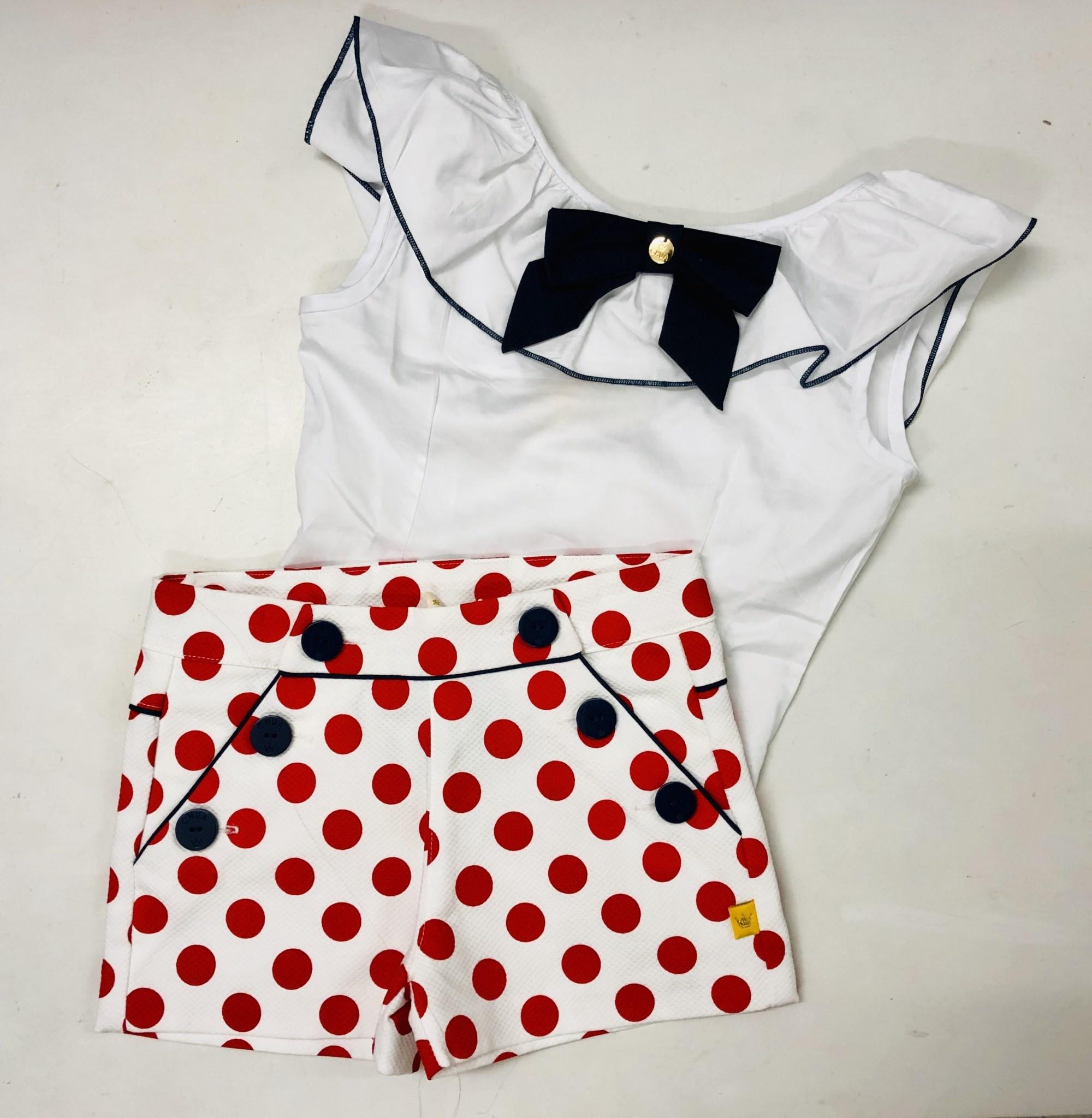 Chua Chua White Top & Red Spot Shorts Set