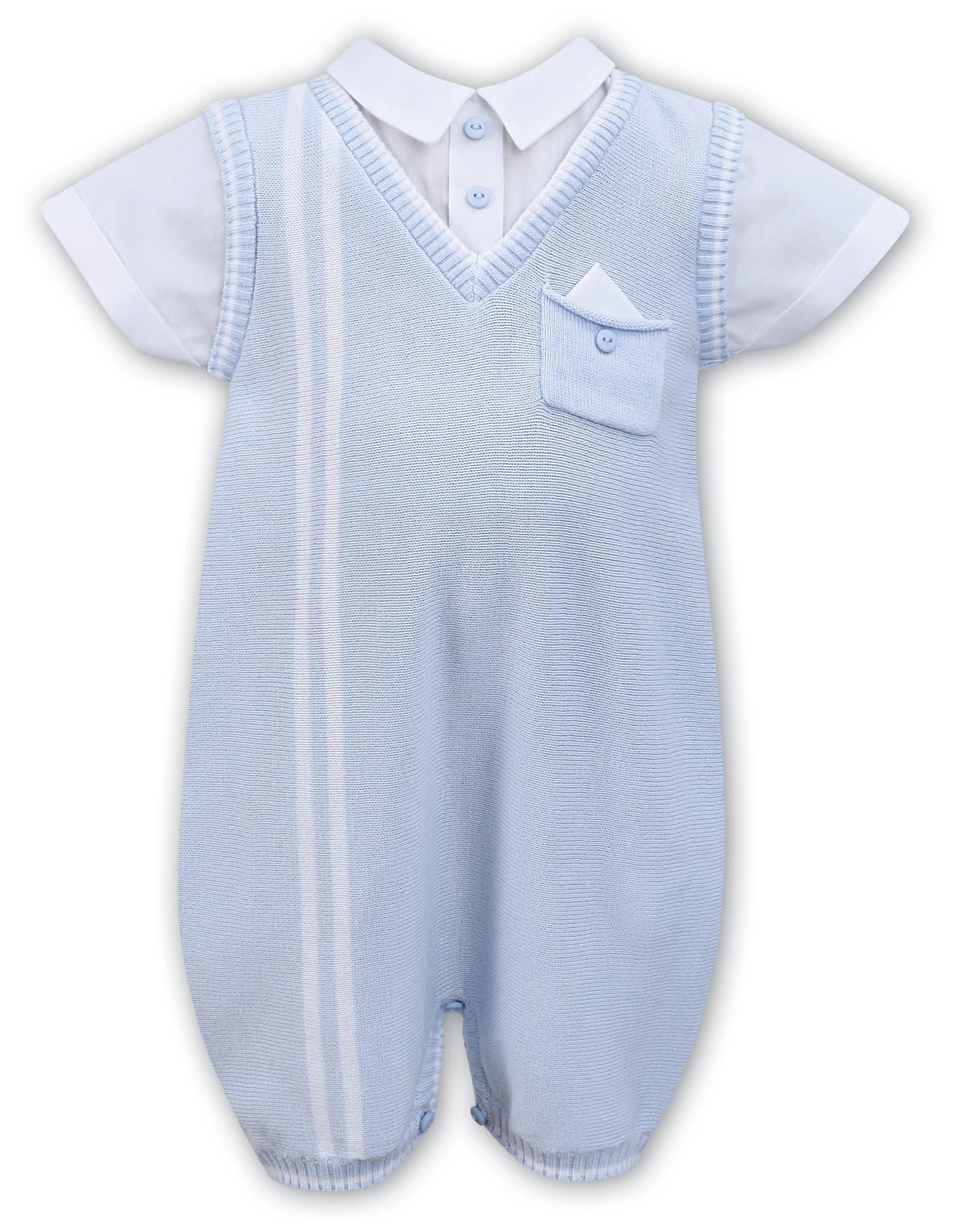 Sarah Louise Sarah Louise D09336 Boys Blue Knit Romper
