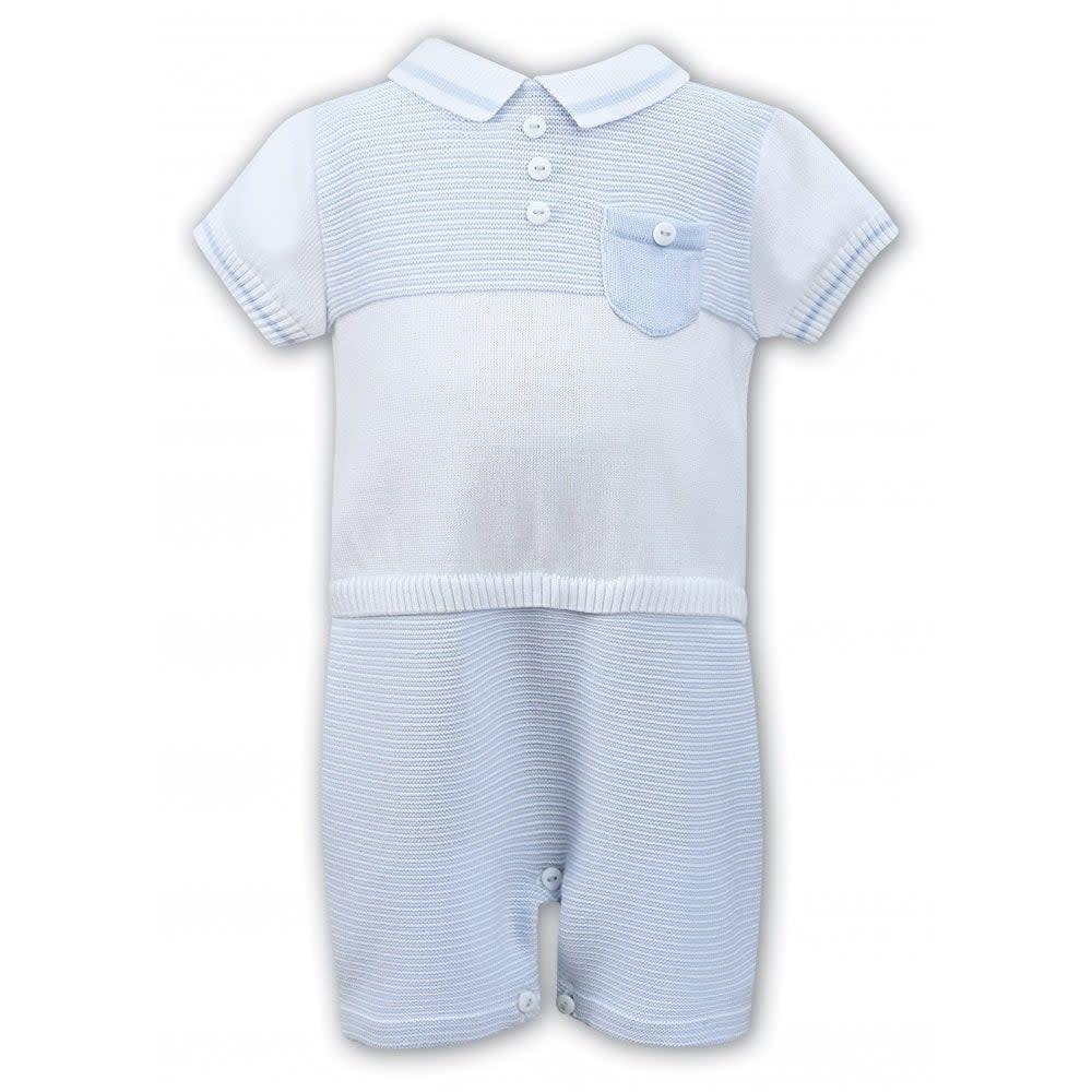 Sarah Louise Sarah Louise 008079 White & Blue knit Romper