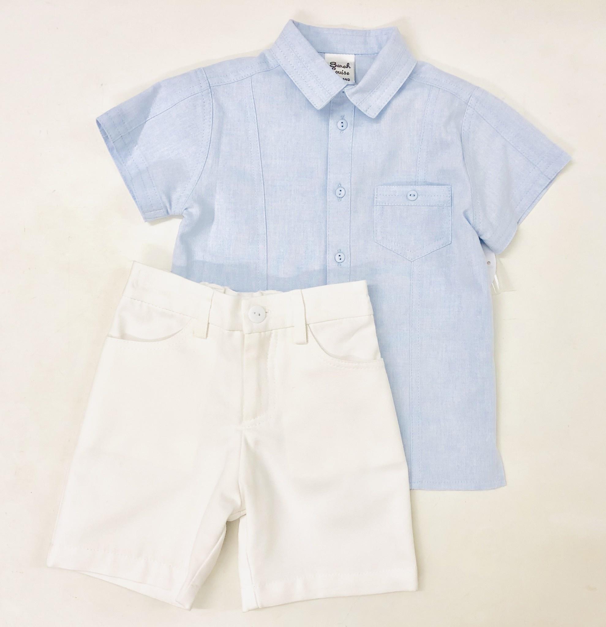Sarah Louise Sarah Louise Pale Blue Shirt & White Shorts Set