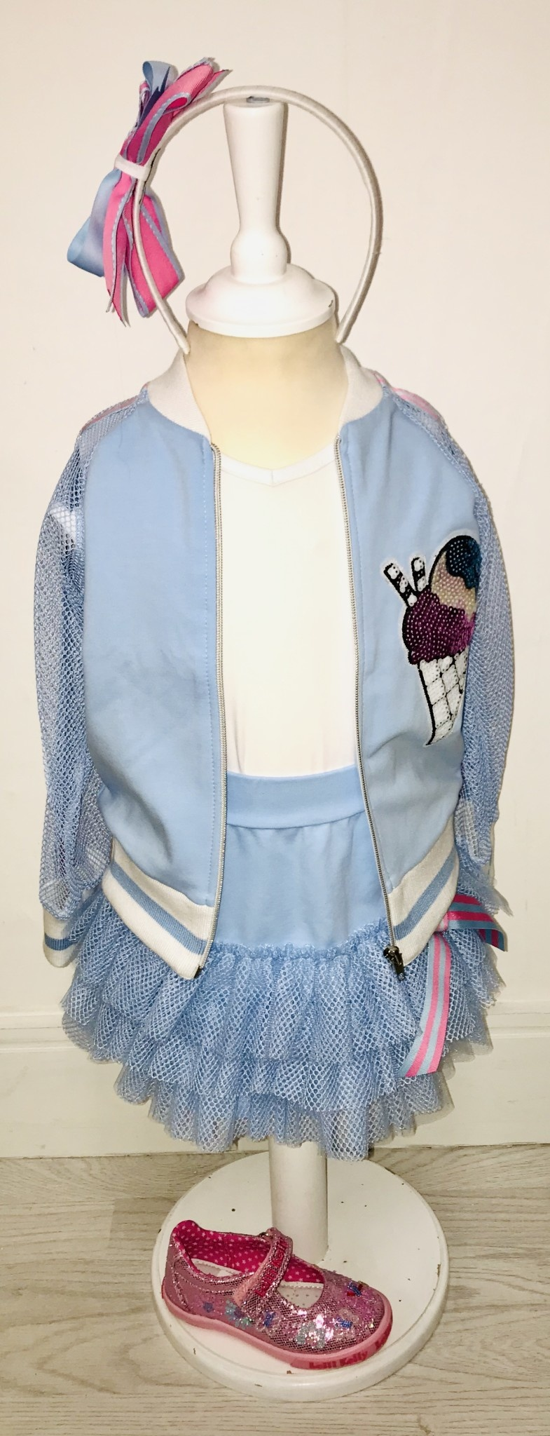 Little Lady Little Lady Blue Jersey Ruffle Skirt