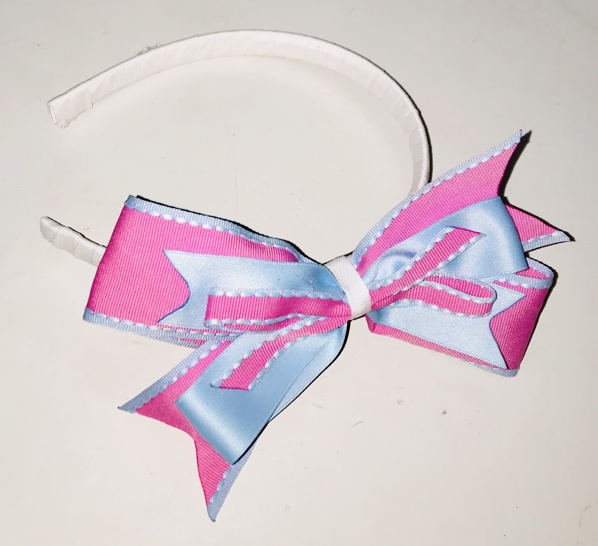 Little Lady Little Lady Blue and Pink Bow Hairband