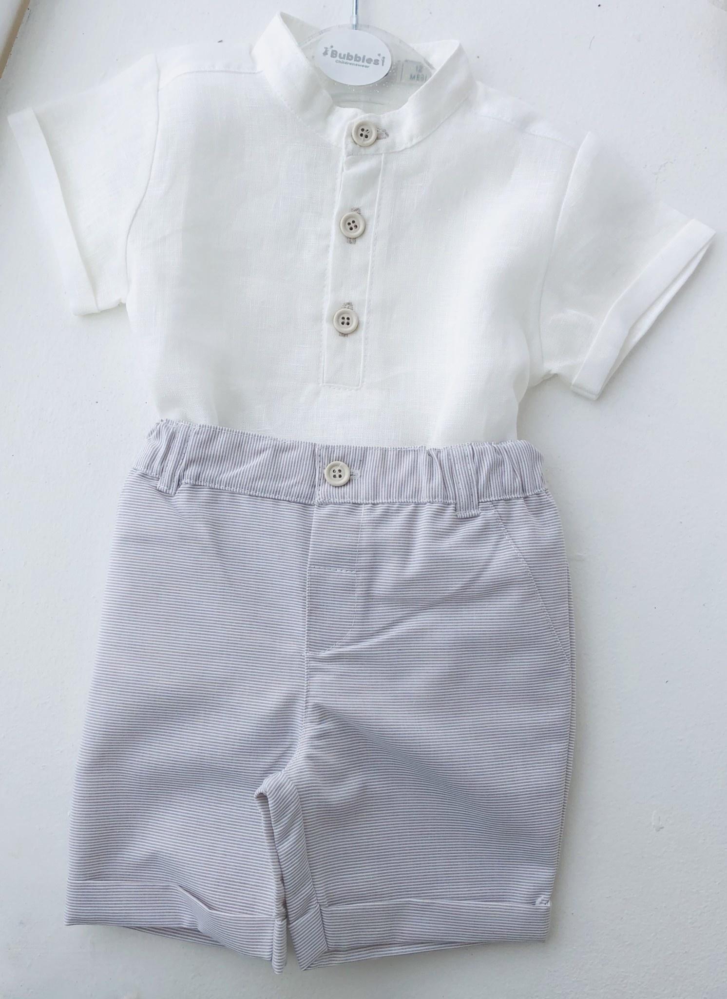 EMC EMC Linen Top and Taupe pin Stripe Shorts Set