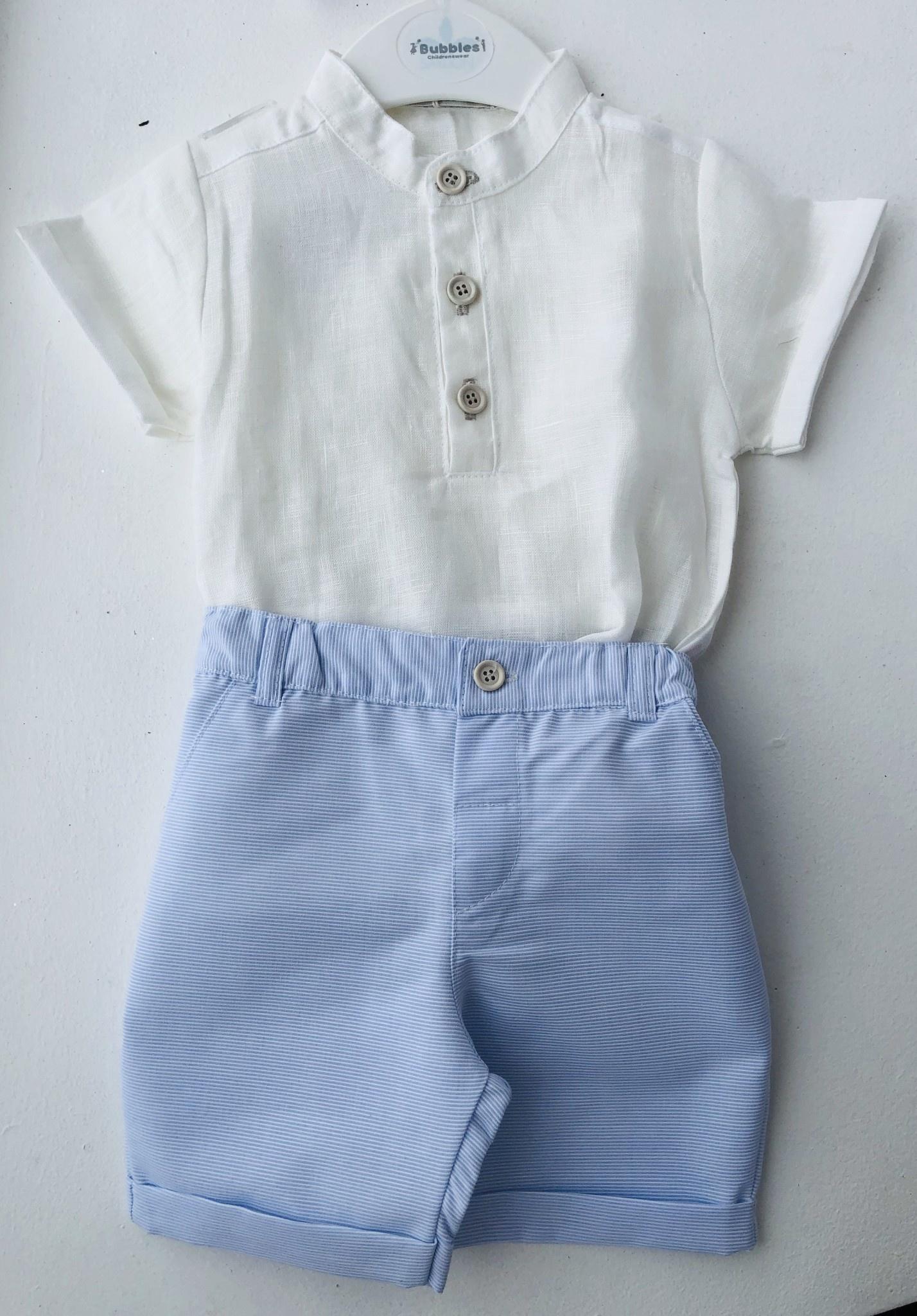 EMC EMC Linen Top and Blue Pin Stripe Shorts Set