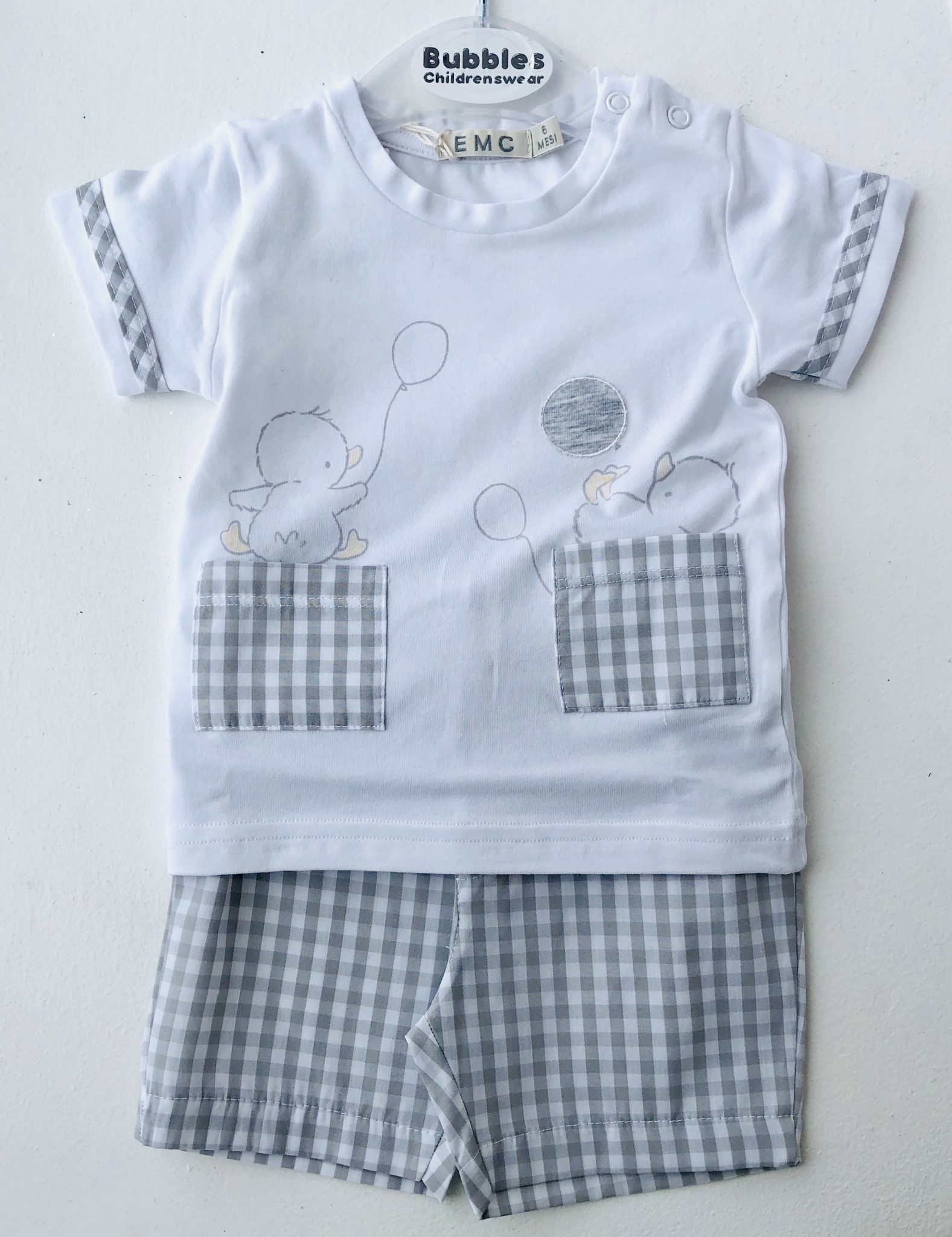 EMC EMC Pale Grey Check Duck Top & Shorts Set