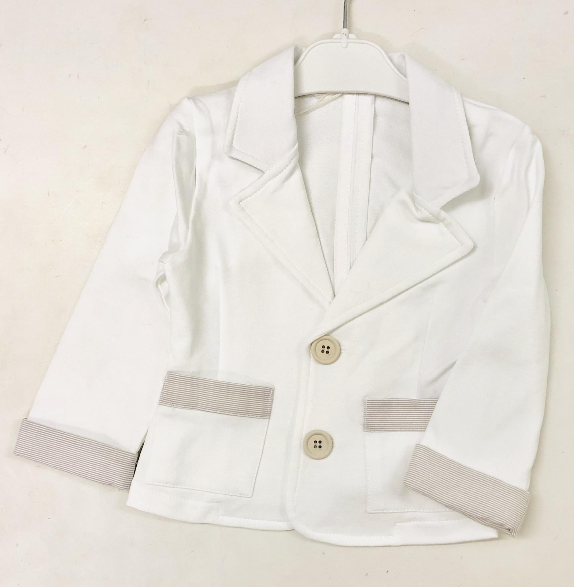 EMC EMC White Jacket With Taupe Stripe Trim Cuff
