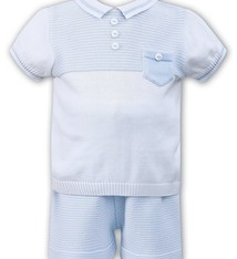 96434b11a0ba1 Sarah Louise Blue   White fine Knit Poloshirt   Short Set