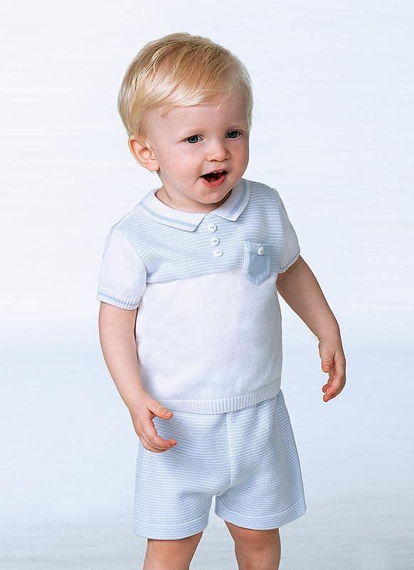 Sarah Louise Sarah Louise Blue & White fine Knit Poloshirt & Short Set
