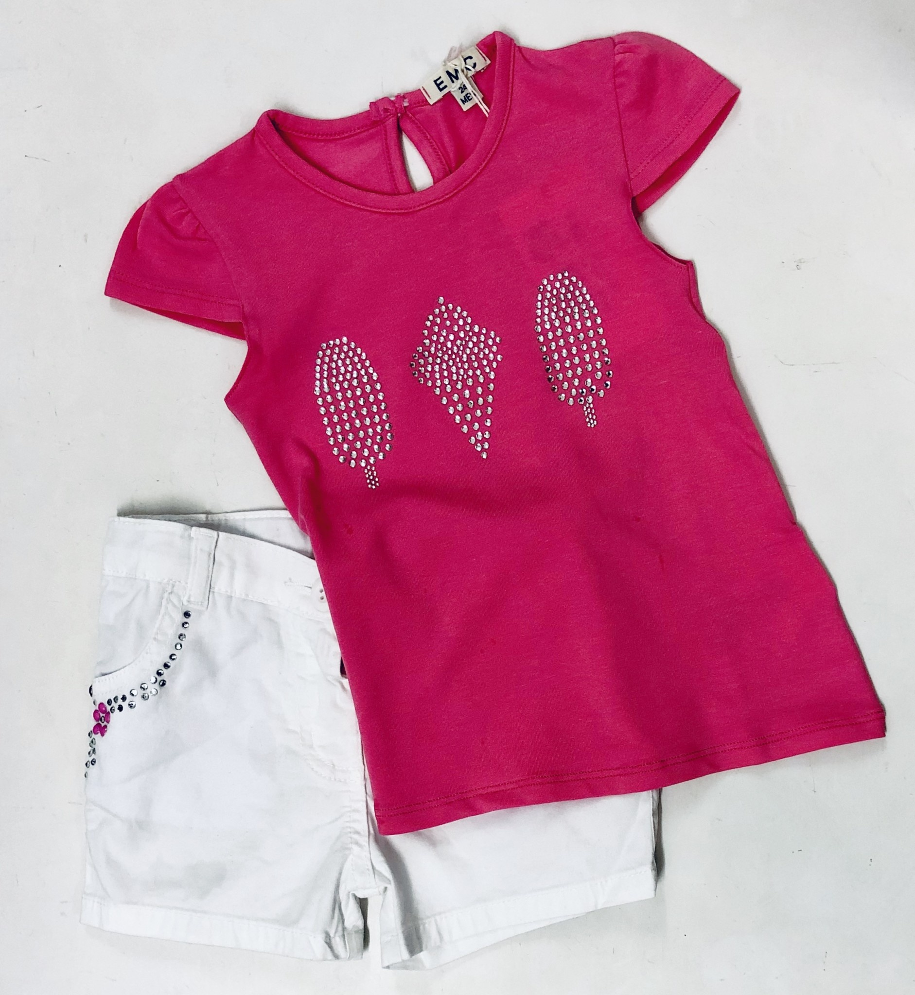 EMC EMC Pink Ice Cream Top & White Shorts Set