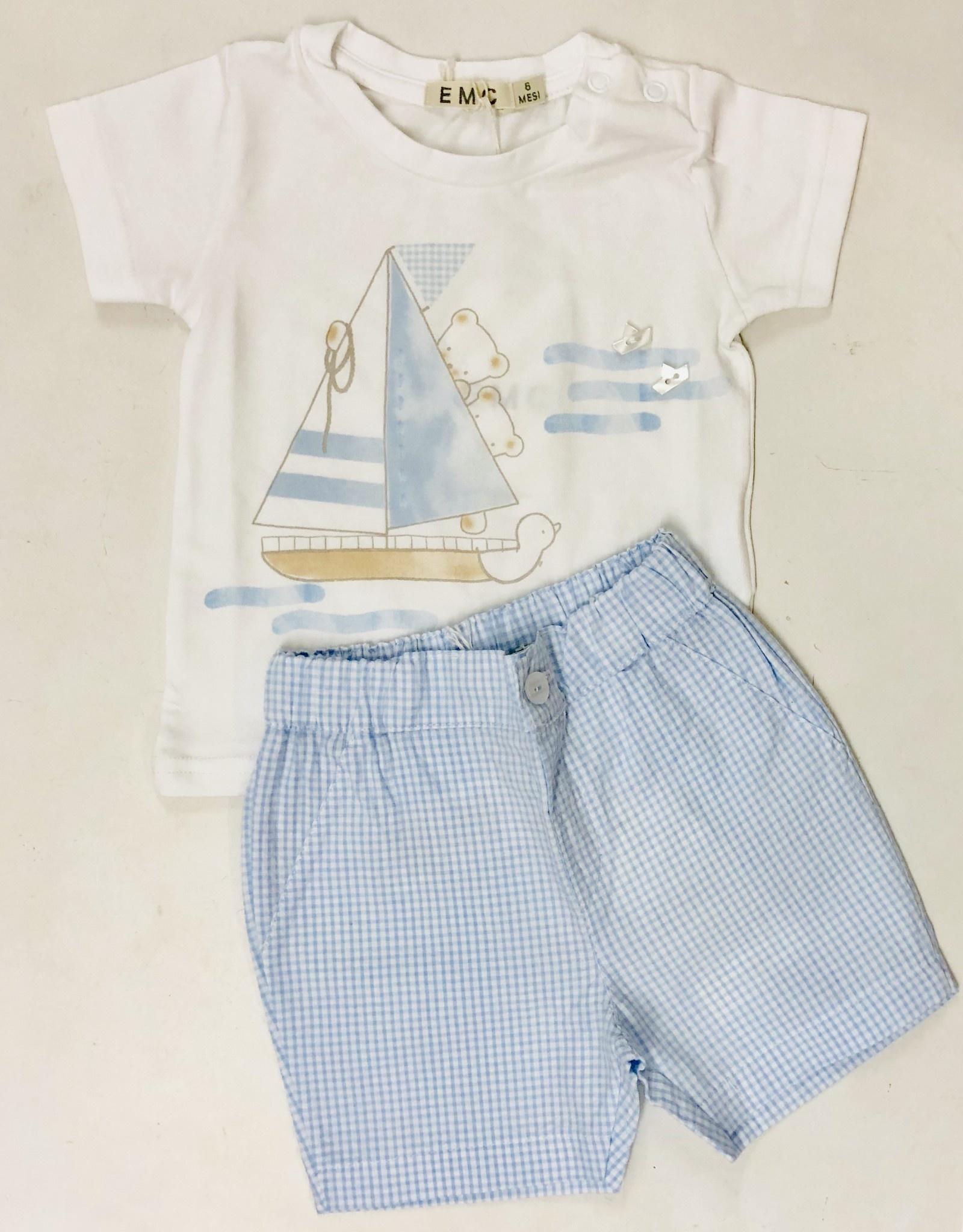 EMC EMC Teddy T-Shirt and Check Poplin Shorts Set 6MONTHS