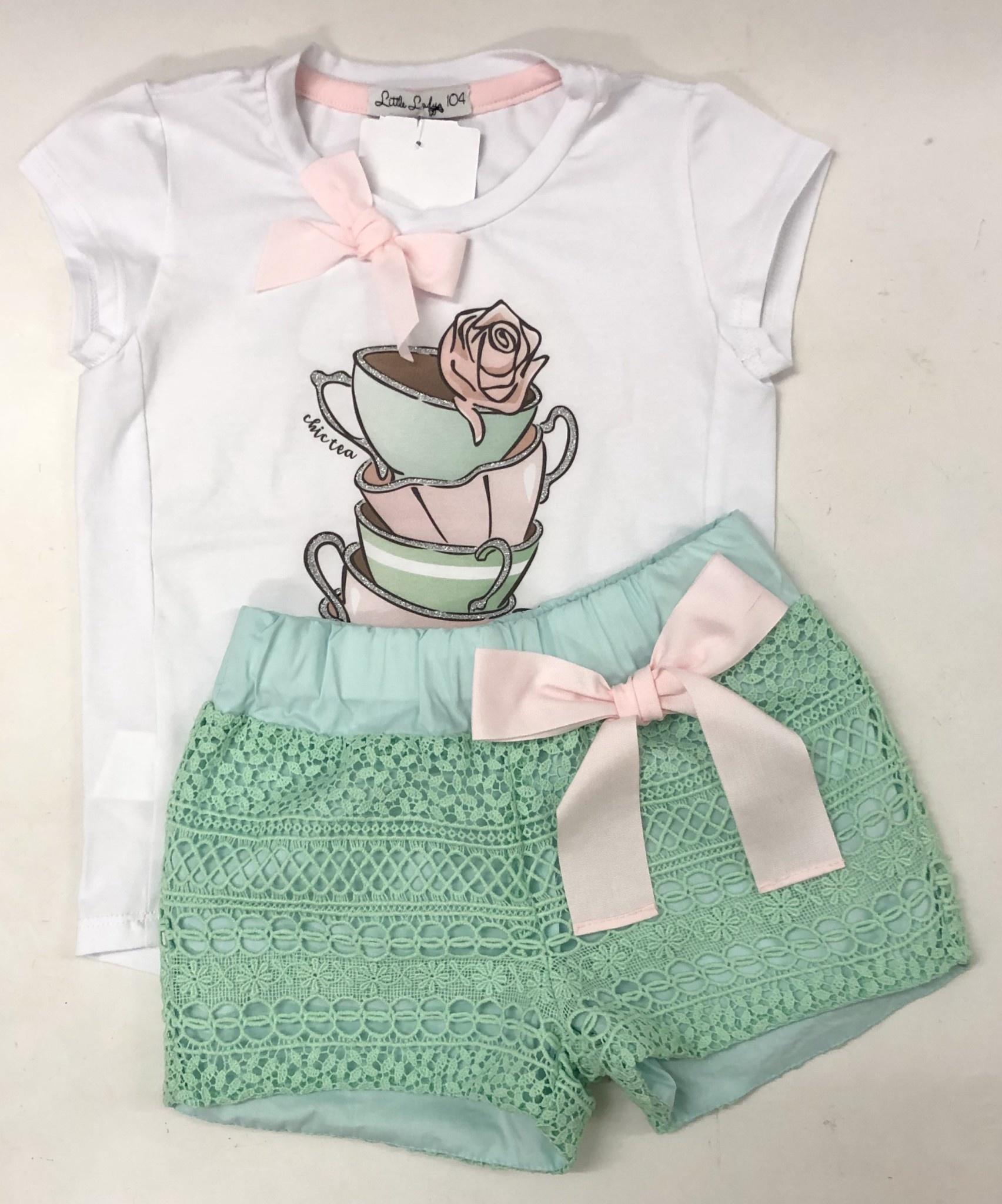 Little Lady Little Lady Tea Cups T-Shirt And Short Set