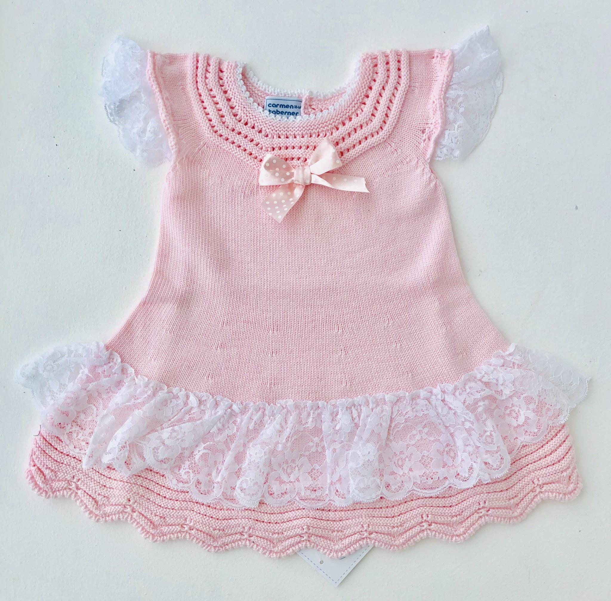 Carmen Taberner Carmen Taberner Pink Knit Dress With Lace Frill