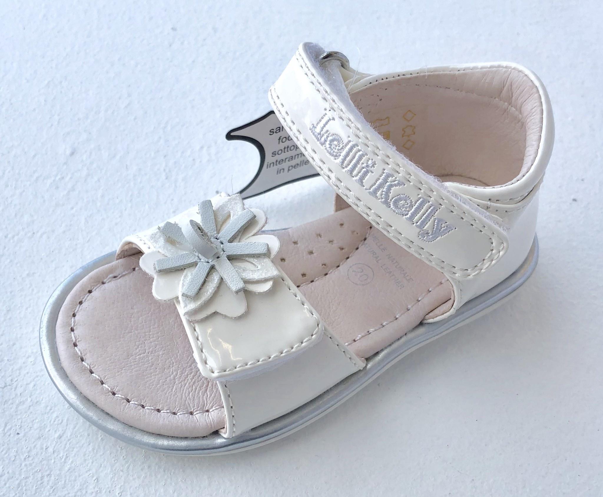 Lelli Kelly Lelli Kelly LK9352 Penelope White Patent Sandal with Flower