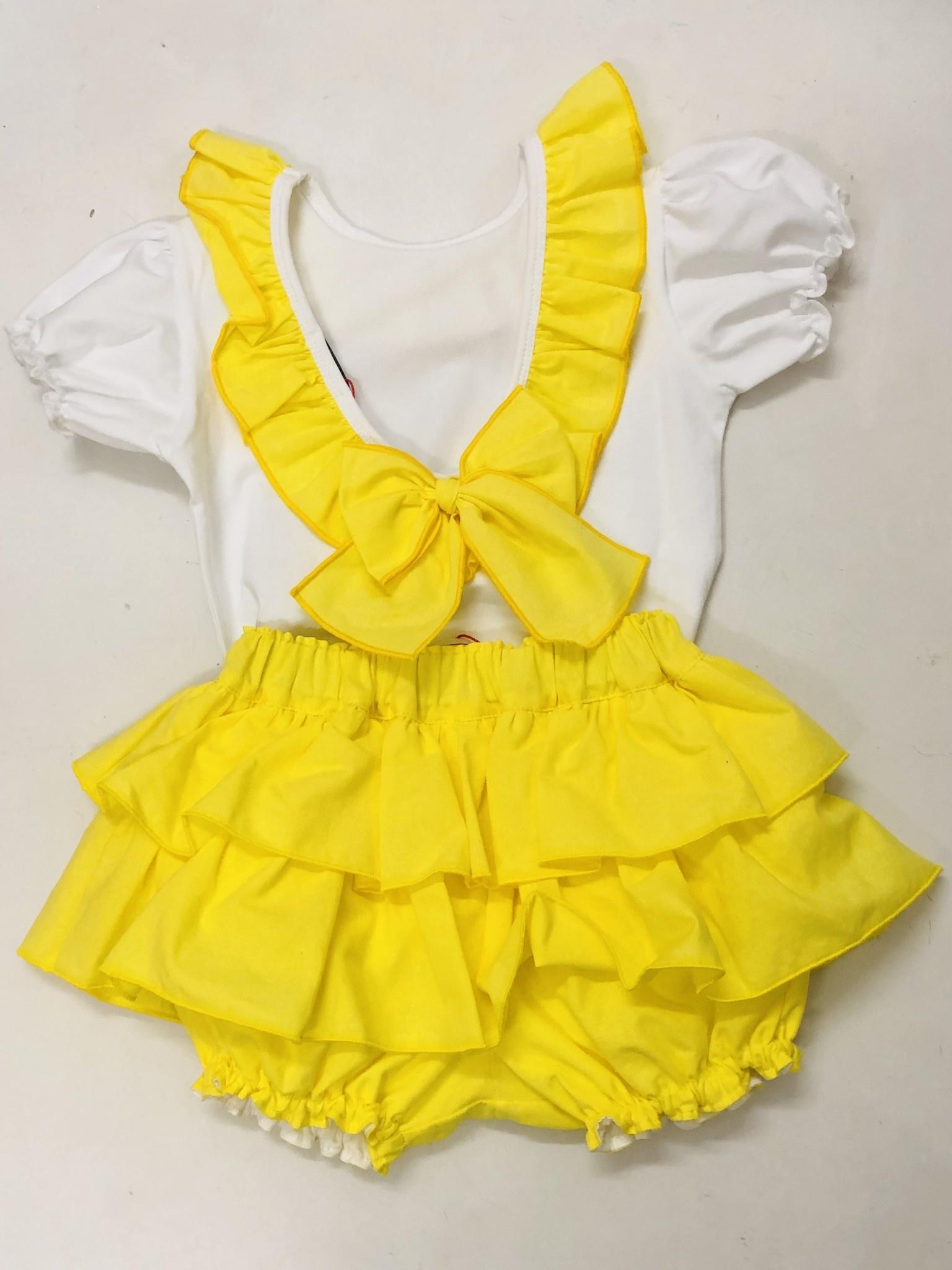 Bogoleta Bogoleta Yellow Ruffle set with Bow Back