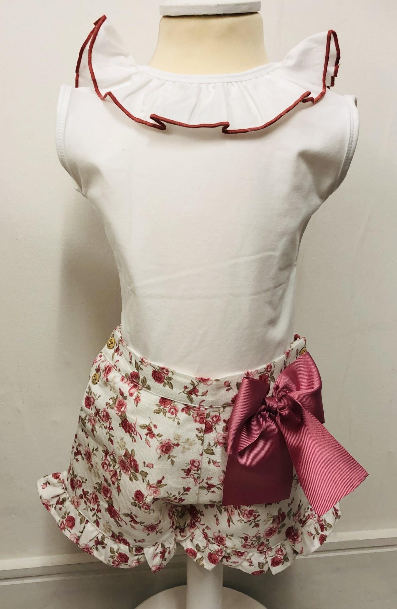 Bogoleta Bogoleta Rose Top & Short Set With Bow Detail