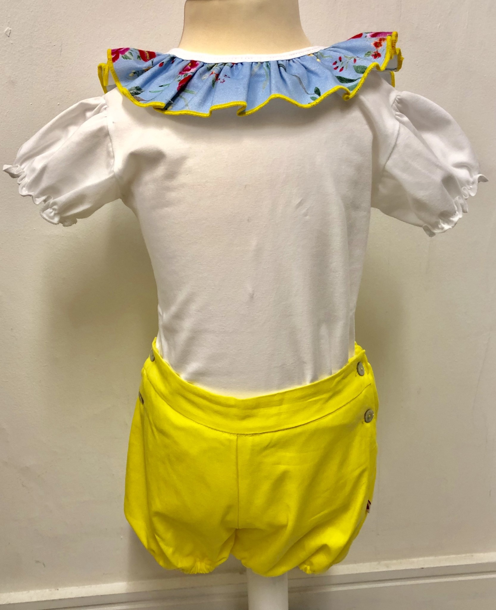 Bogoleta Bogoleta Yellow Body & Short Set With Floral Trim