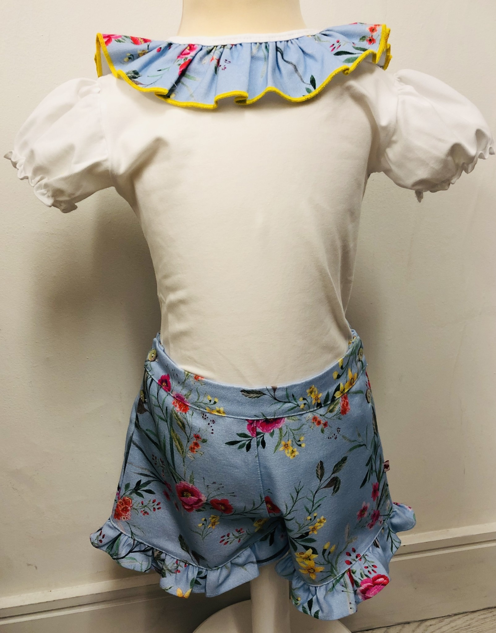 Bogoleta Bogoleta  Soft Blue Floral Top & Short Set With Bow Detail