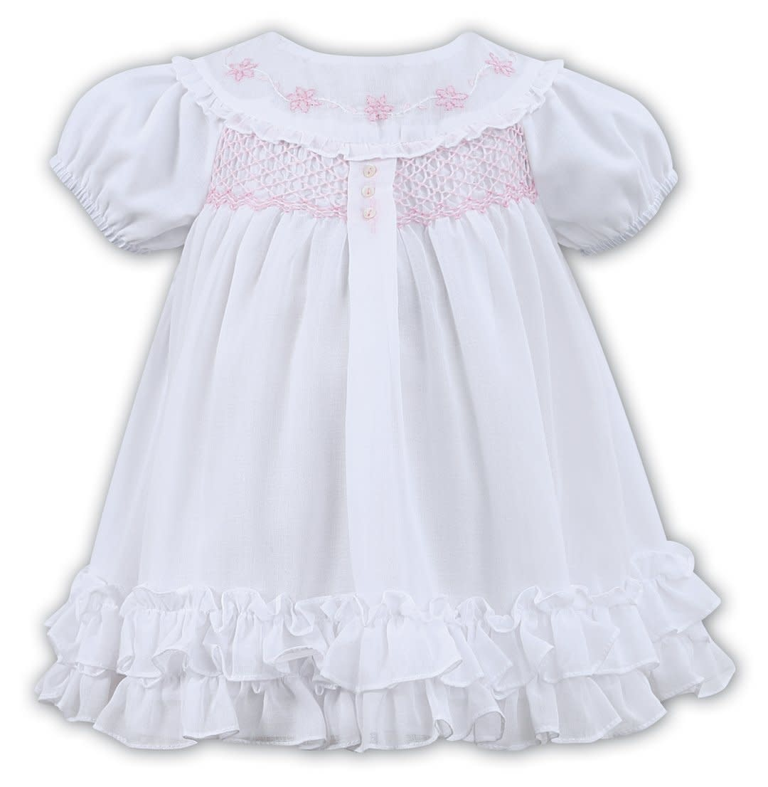 Sarah Louise SARAH LOUISE 011462 WHITE VOILE HAND SMOCKED DRESS