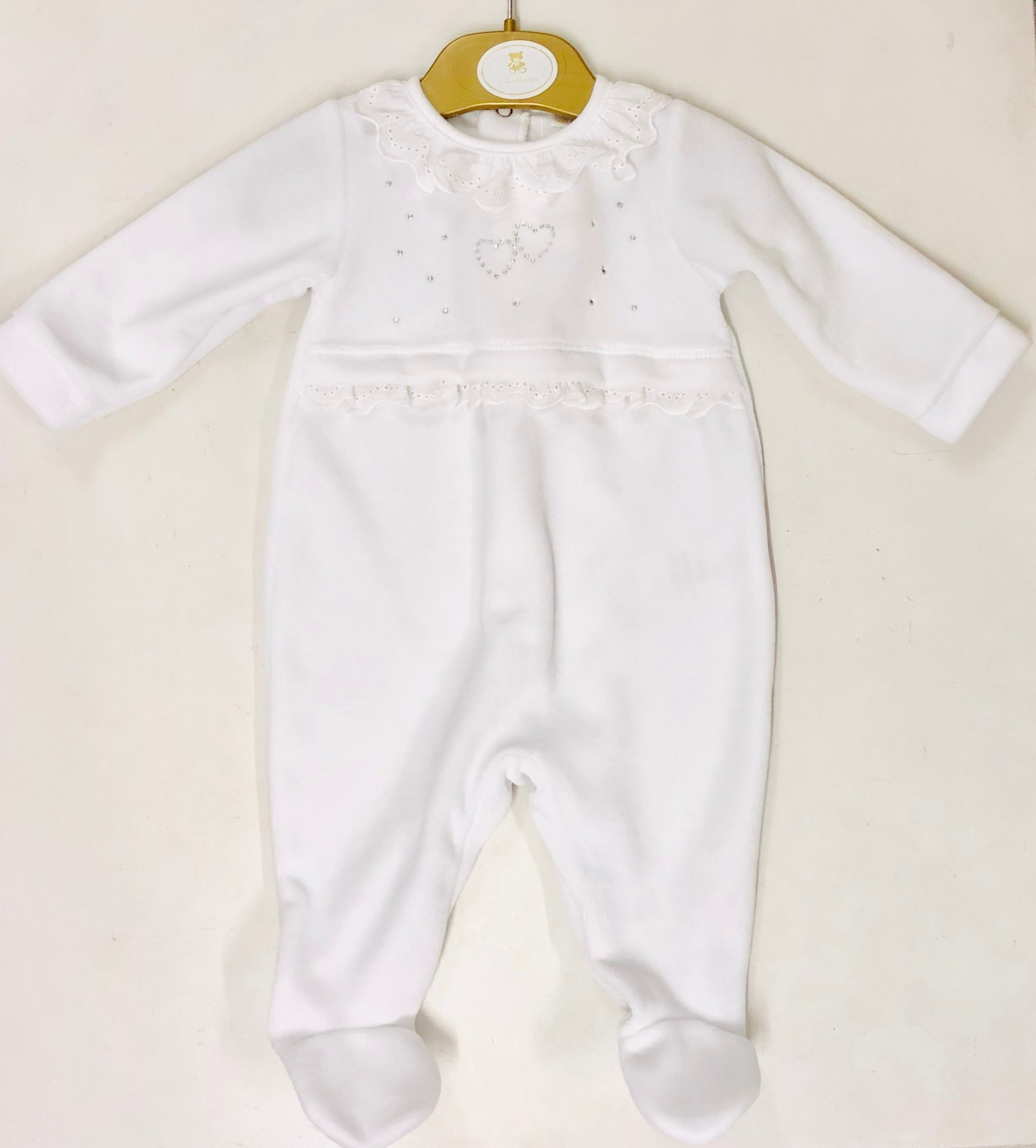 Mintini Mintini Baby Girl White Crystal Hearts Babygrow
