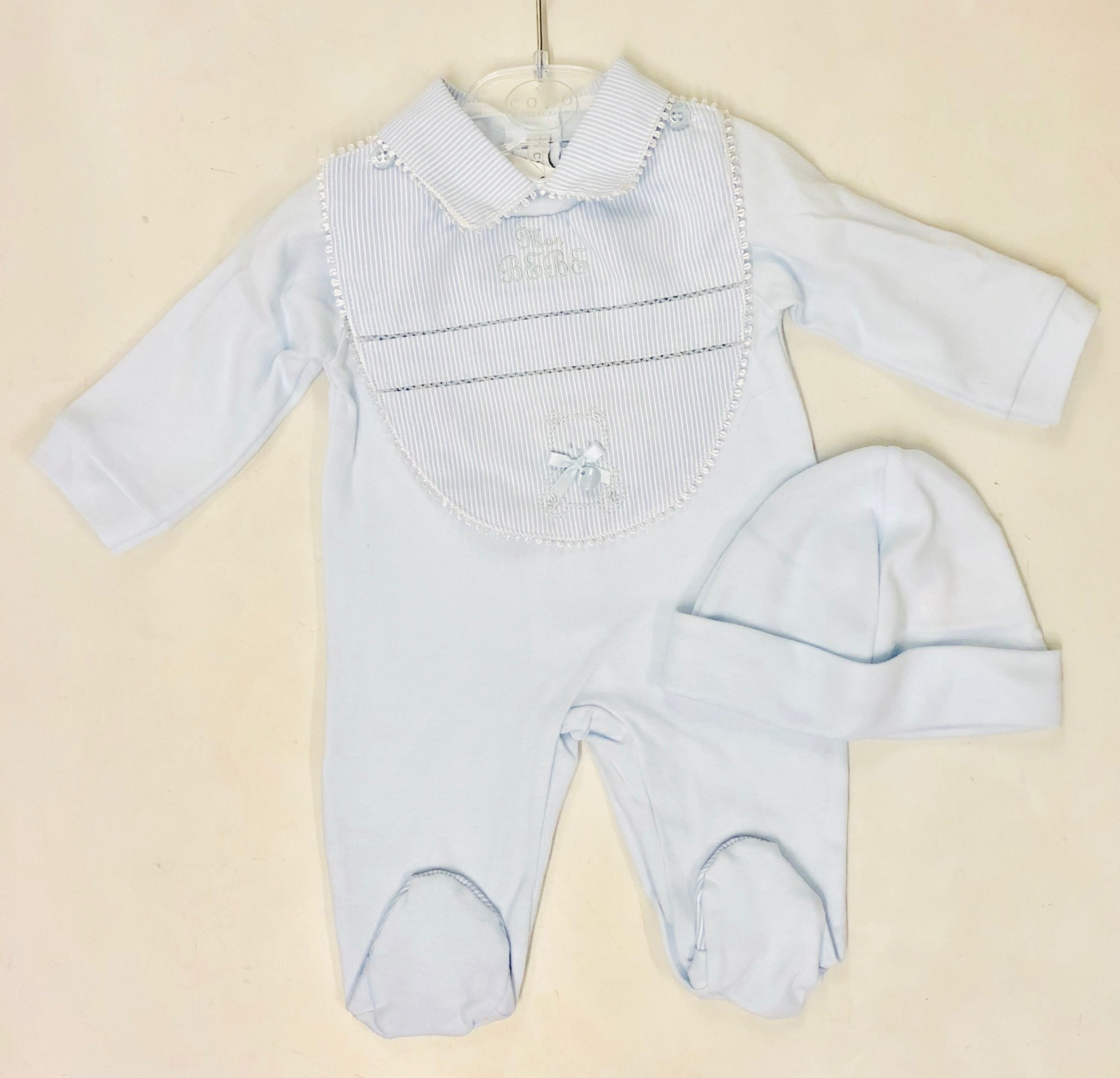 Coco Collection CoCo Collection CCS5703 Blue Romper With Bib
