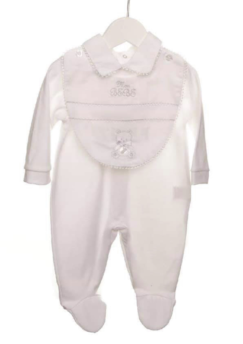 Coco Collection CoCo Collection CCS5703 White Romper With Bib