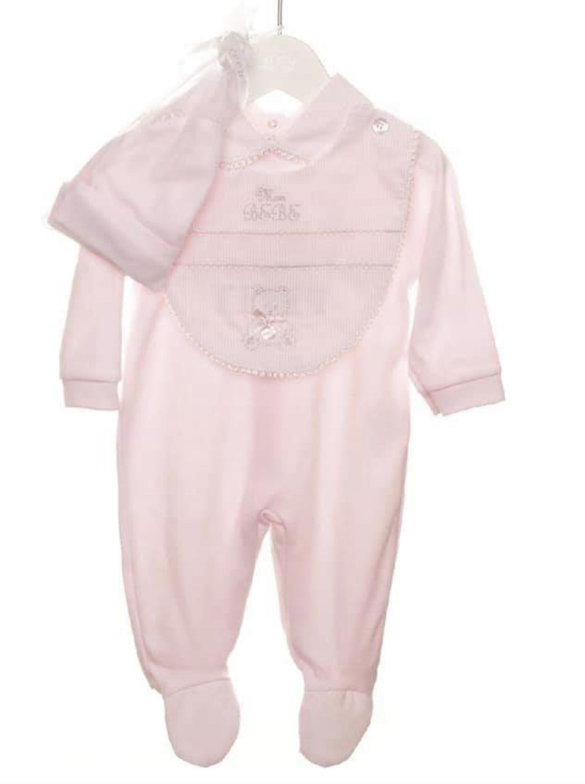 Coco Collection CoCo Collection CCS5703 Pink Romper With Bib