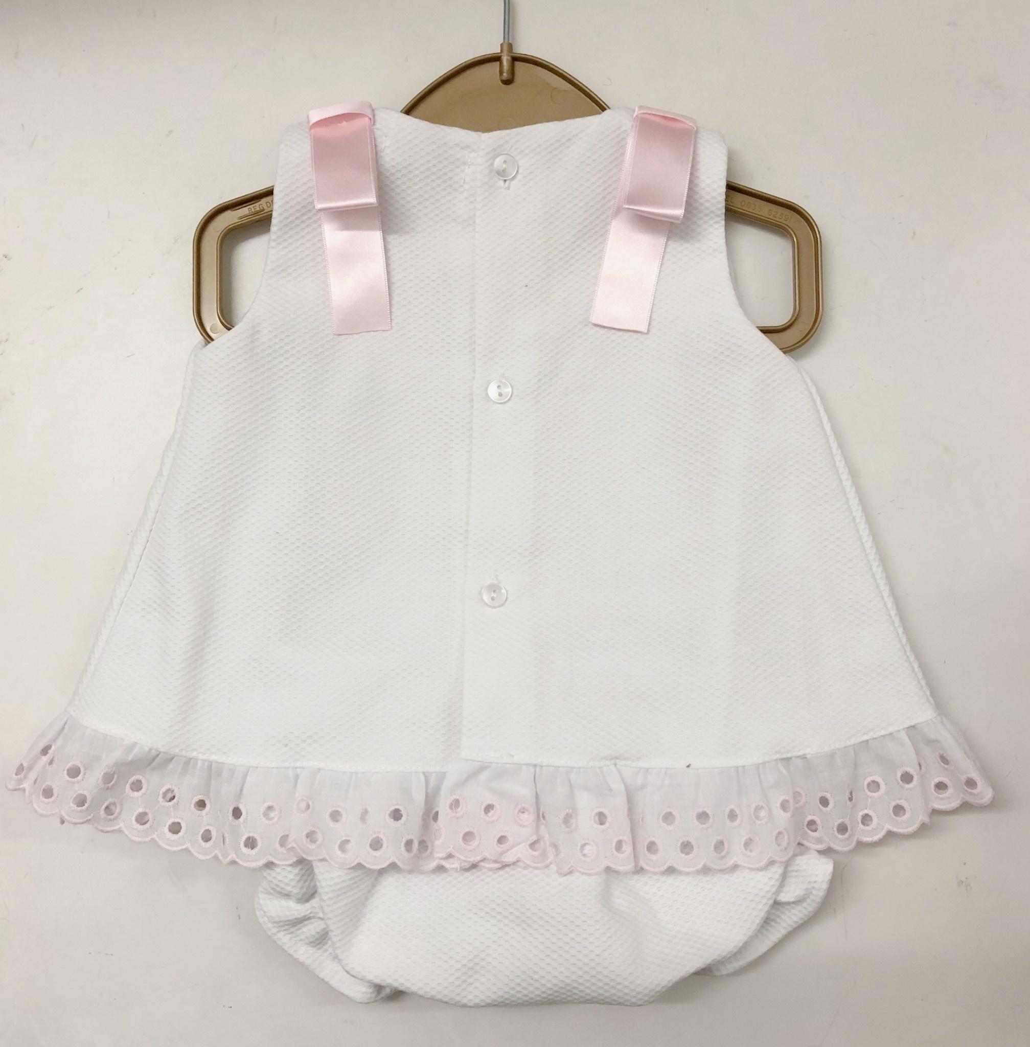 Mintini Mintini Baby MB2530 White Dress & Pant Set