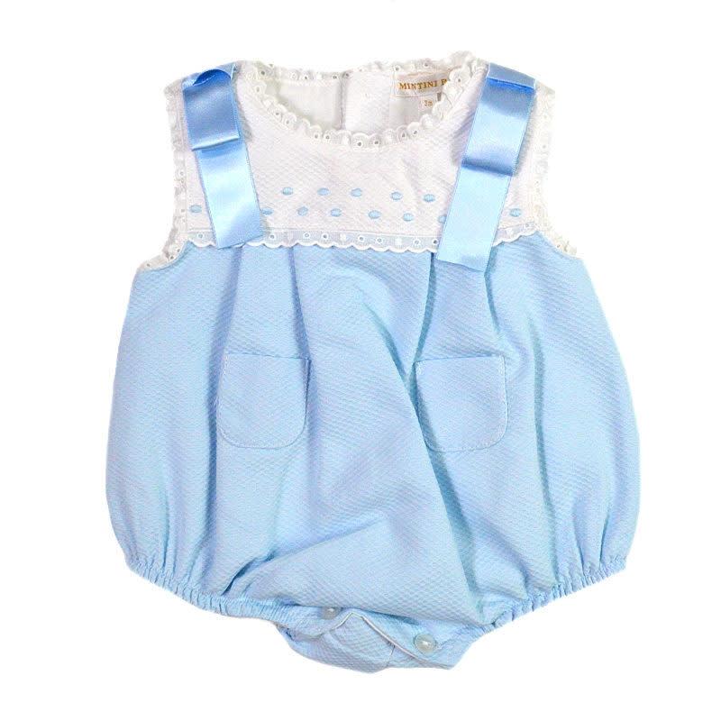 Mintini Mintini Baby MB2530 Girls Blue & White Romper