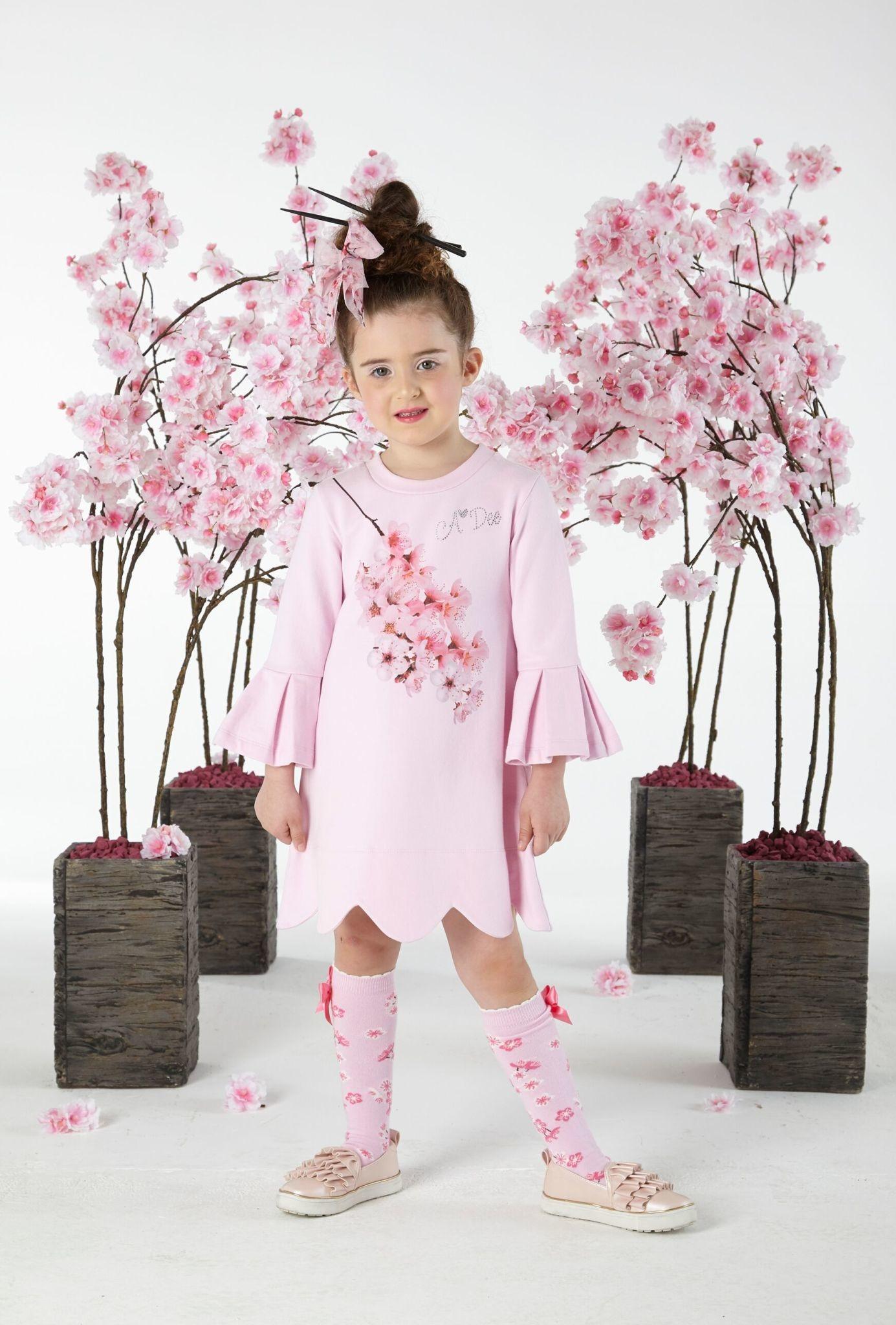 A Dee ADee W191701 Dawn Blossom Pink Frill Sleeve Dress