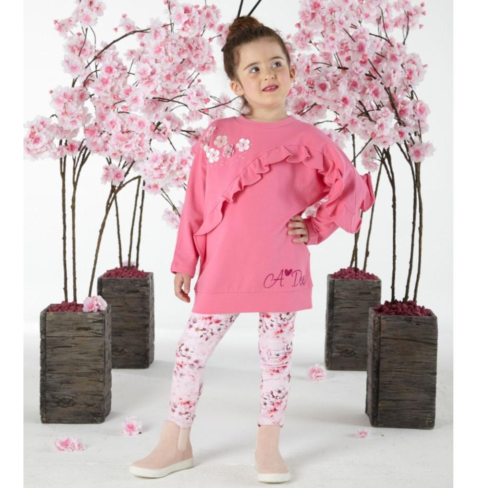 A Dee ADee W191501 Norra Sweet Pink Blossom Frill Legging Set