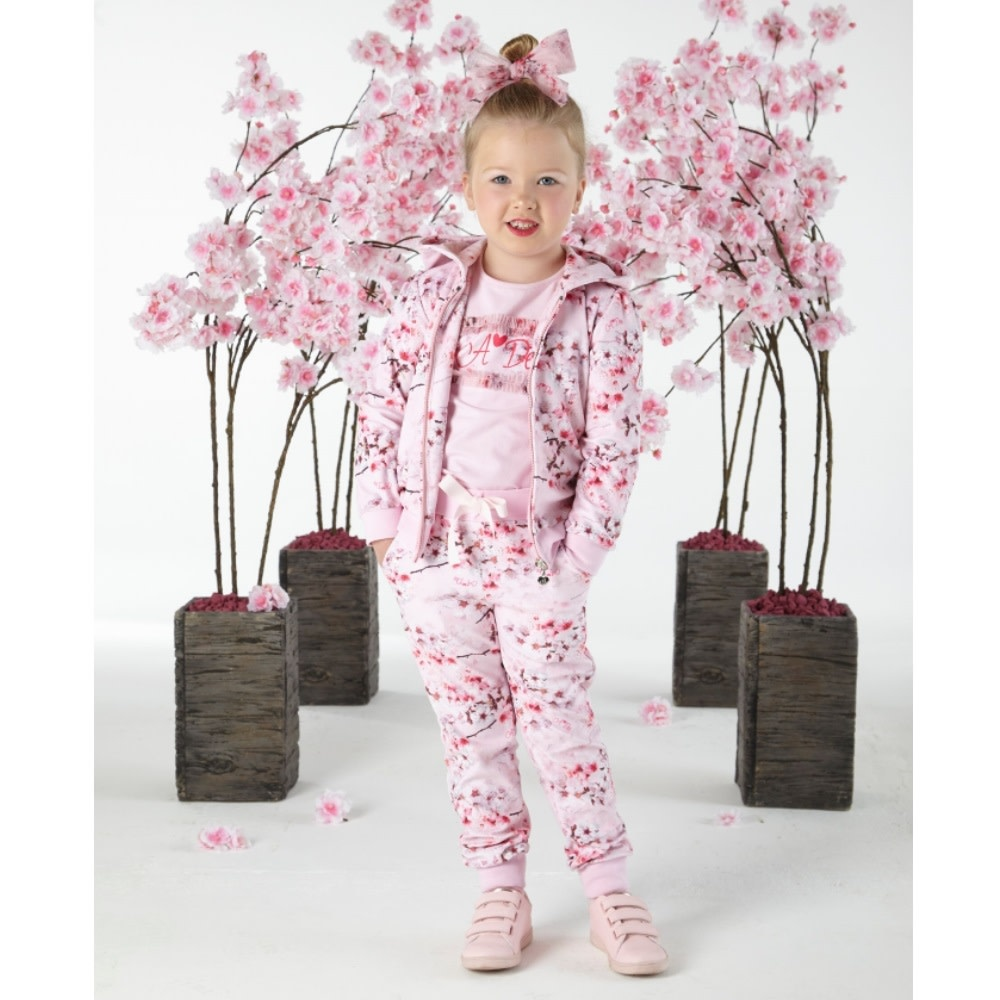 A Dee ADee W191502 Natz Blossom Pink Velor Jogger Set