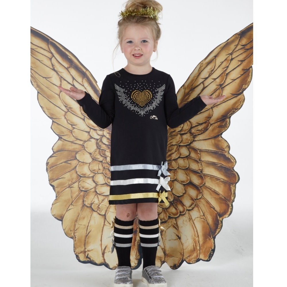 A Dee ADee W192704 Dolly Black Angels Ribbon Dress