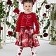 ADee W194713 Dazzle Rose Mixed Dress With Sleeve Frills