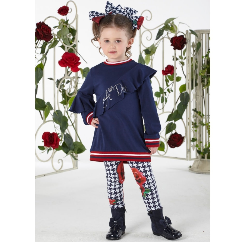 A Dee ADee W194512 Naomi Navy Rose Frill Legging Set