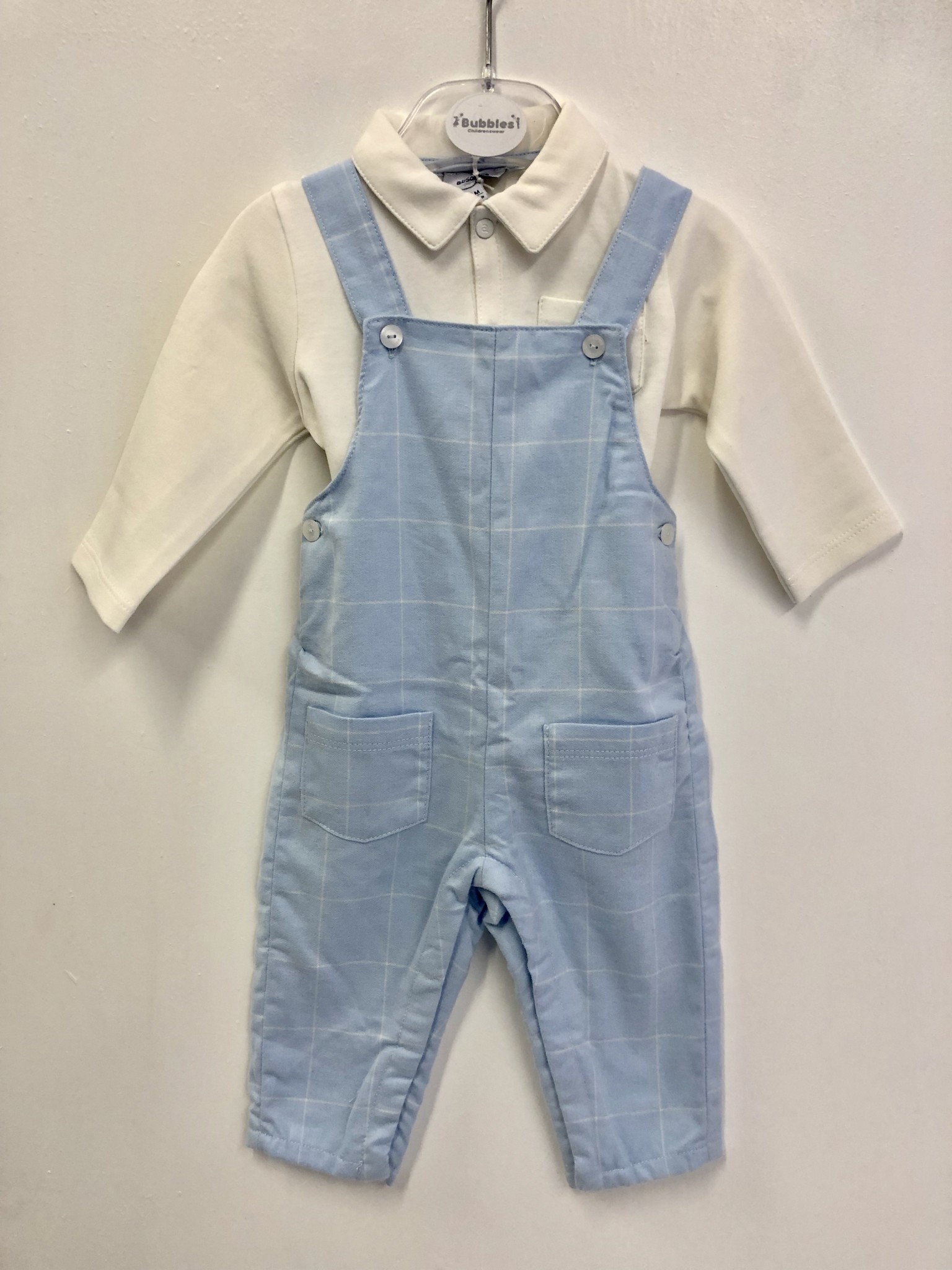 Absorba Absorba Pale Blue Check Dungaree And Winter White Top Set