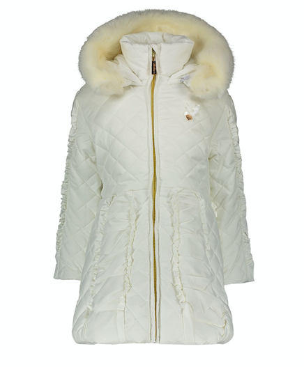 Lechic Le Chic Off White  Frill Quilted Coat