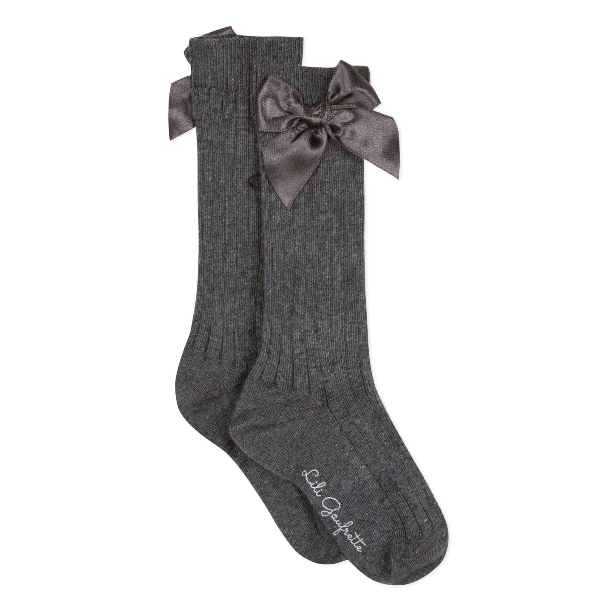 Lili Gaufrette Lili Gaufrette Grey Knee High Bow Socks
