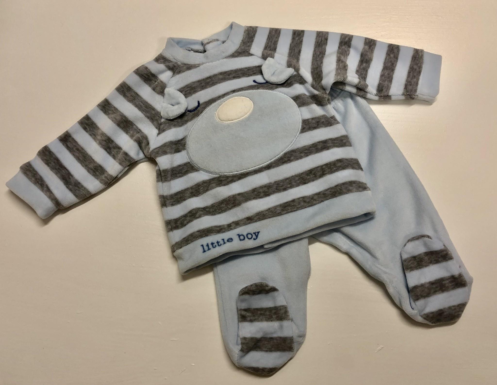 Ido Ido Blue / Grey Stripe Bear Two Piece Set