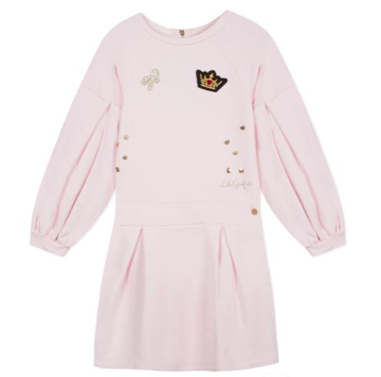 Lili Gaufrette Lili Gaufrette Pink Jersey Dress with Crown Detail