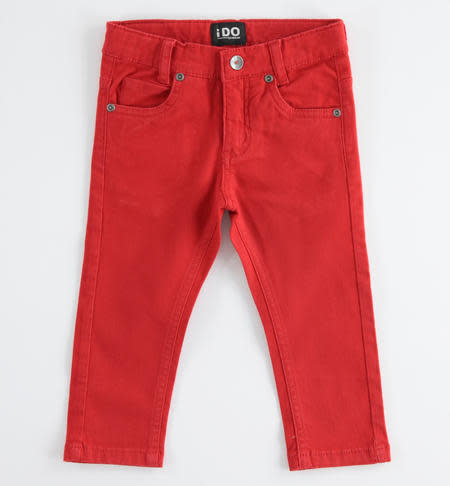 Ido Ido Red Slim fit cotton twill trousers