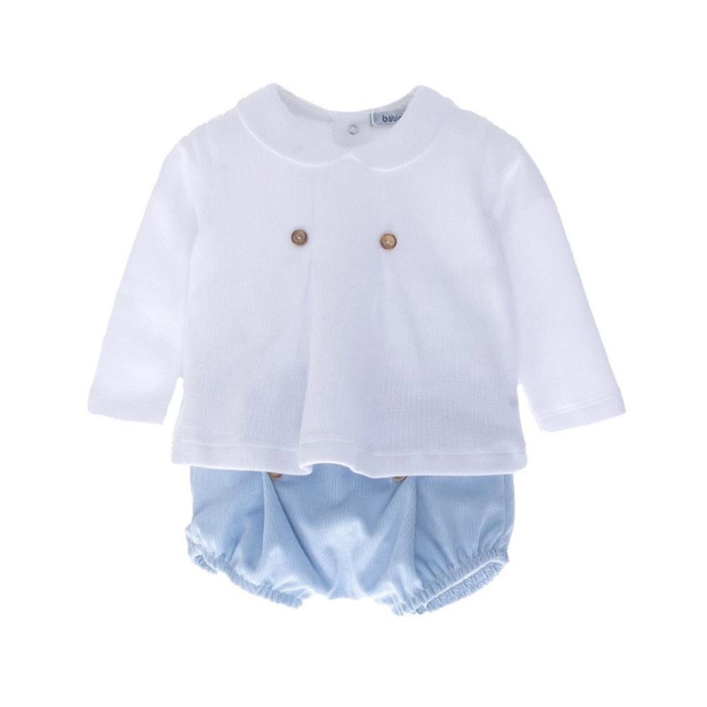 Babidu Babidu White / Blue 2 Piece Shorts Set 44450