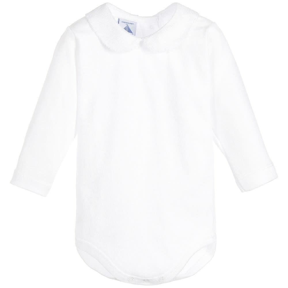 Babidu Babidu Long Sleeve Body-suit, white Collar 1188