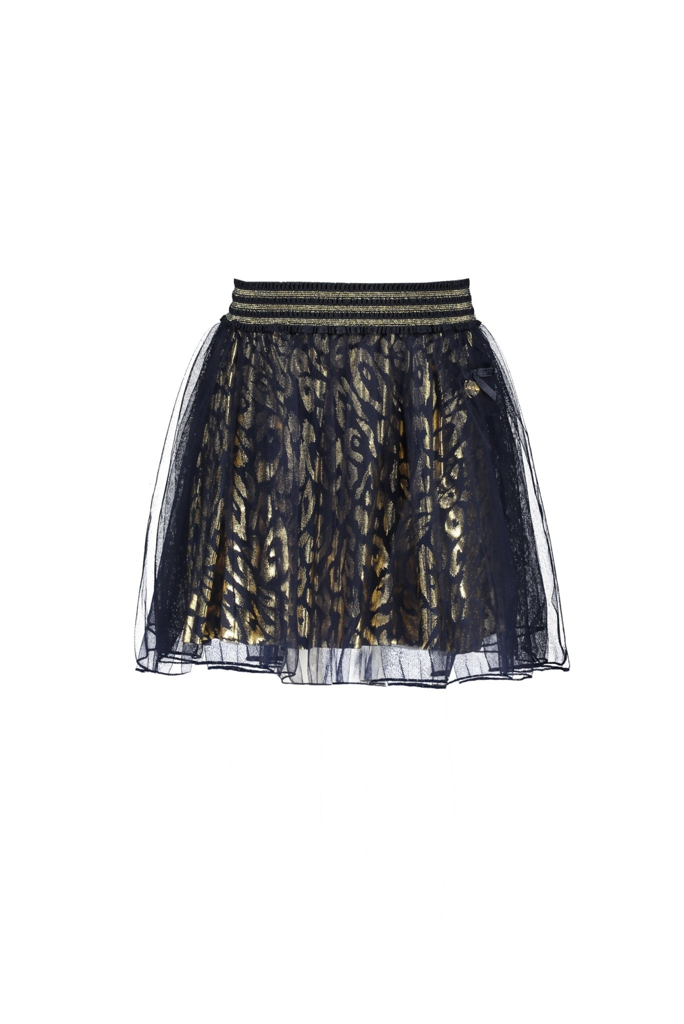 Lechic Le Chic Navy and Gold Skirt with Overlay